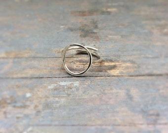 circle silver ring, sterling silver ring, karma ring, open ring, adjustable silver ring, gift ring, simple ring, infinity ring