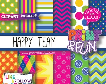 Happy, Team, Patterns Digital Papers,  clipart, clip art, Party Printables, Birthday Party, Labels, Boxes