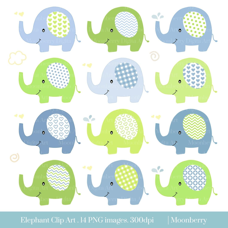 Elephant Clip Art. Baby Shower Clipart. Nursery Clipart.