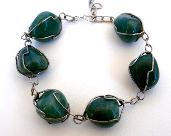 Green Aventurine Bracelet - Wire Cage - Gemstone Bracelet - Upcycled Jewelry