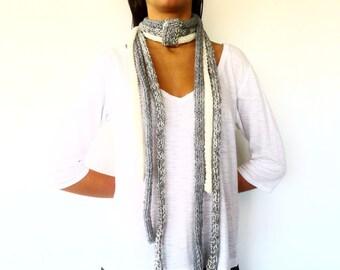 Bufanda gris hecha a mano. Bufanda de punto para mujer. Bufandas de lana. Bufandas tejidas. Ideas para regalar para ella