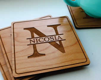 Christmas Gift, Wood Coaster Set, Personalized Coasters, Monogram Gift, Gift For Him, Gift For Mom, Wedding, Anniversary, Kitchen Decor