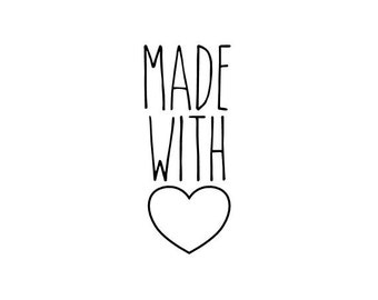 "Made With Love Stamp, handmade with love, Etsy business stamp, love heart, packaging stamp, tags and labels stamp, 0.5"" x 1.1"" (minis23)"