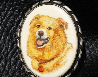 Signed Handpainted Pendant Brooch Anouk Johanna Sterling Silver Dog