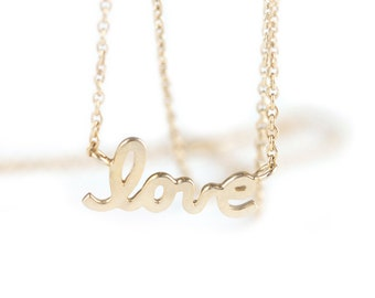 14k gold love necklace, love script necklace, bridesmaid jewelry, valentinesday, mothers day, gift idea