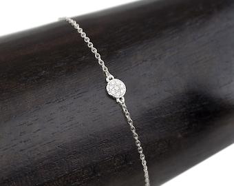 Dainty diamond bracelet, Simple pave white diamond round disc & solid 14k white gold bracelet,  simple dainty friendship bracelet, moo-b101