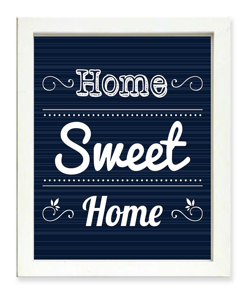 Home Sweet Home Art Print Navy Blue White Home Wall Decor