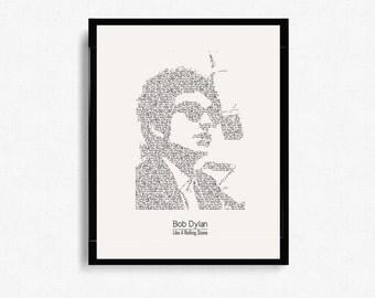"Bob Dylan ""Like A Rolling Stone"" Typographic Print Design - Digital Print - Poster Print - Wall Art - Minimalist Art - Graphic Design"