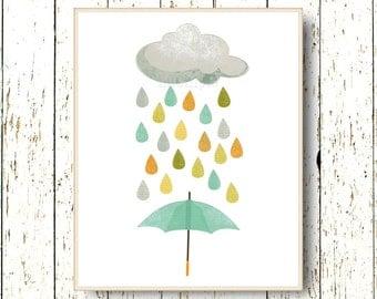 Cloud rain umbrella nursery Art for children - Kids wall art - Playroom art - Family Room - baby nursery wall art - 8x10, 11x14 and larger