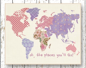 Purple lavender pink World map art Oh, the Places you'll Go! Dr Seuss girl room decor Family Room playroom print Kids wall art for children