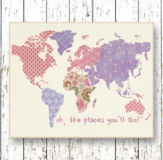 Purple lavender pink world map art oh the places you 39 ll for Places to get room decor