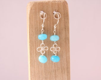 Long Blue Topaz Gemstone and Silver Earrings