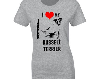I Heart My Jack Russell Terrier hand printed T shirt