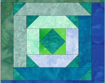 Diamond in a Square Log Cabin Paper Piece Foundation Quilting Block Pattern