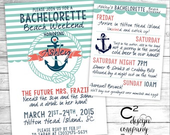 Mint & Coral Nautical Bachelorette Beach Weekend Invitation With Itinerary