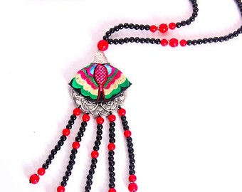 Miyachy-Ethnic Necklace Embroidered Necklace Beads Sweater Necklace 14080402
