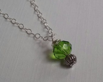 Sterling Silver Necklace with Swarovski Crystal and Sterling Silver Bead