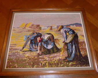 CANVAS SEEDERS, embroidered finished tapestry, vintage 1970s, handmade