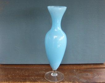 Glass opaline vase, color blue, vintage 1960/1970
