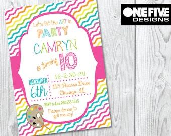 Art Party Birthday Invitation - Printable (5x7)