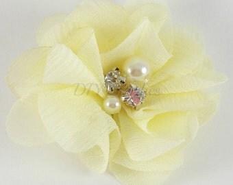 "2"" Pale yellow chiffon rhinestone and pearl flower - Petite fabric flowers - Small flowers - Yellow flowers - Wedding flowers"