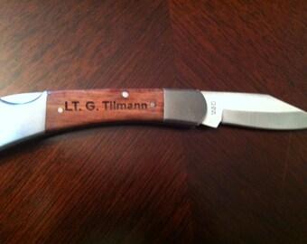 Knife  Laser Engraved Rosewood Gentleman's