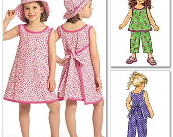 Butterick Sewing Pattern B5019 Girl's Top, Dress, Pants, Hat  Size:  CL  6-7-8  Used