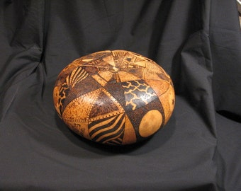 Pyrographic gourd art