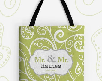 Mr and Mr Personalized Large Tote Bag. 14 Colors Avail. Customized Wedding Gift, Travel Bag, Vintage, Groom, Gay, LGBT, Silent Era, Newlywed