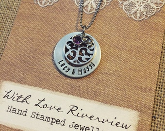 Family tree with birthstones hand stamped necklace, personalized