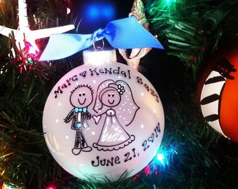 Newlyweds Just Married Christmas Ornament Personalized LARGE