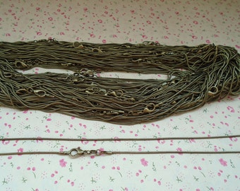 20pcs 1.2mm 20 inch bronze snake chain necklace chain with lobster clasp