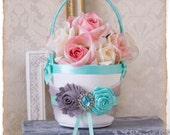 Aqua Flower Girl Basket, Grey Flower Girl Basket, Aqua and Grey Petal Basket, Aqua Wedding Decor, Aqua Wedding Accessories, Custom Color
