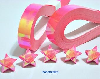 200 strips of Pink Color DIY Origami Lucky Stars Medium Size Paper Folding Kit. 24.5cm x 1.2cm. (AV Paper Series). #SPK-108.