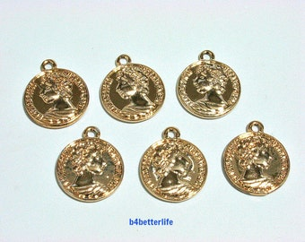 "Lot of 24pcs Double Sided ""Gold Coin"" Gold Color Plated Metal Charms. #XX502g."