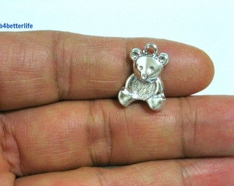 """Lot of 24pcs """"Teddy Bear"""" Silver Color Plated Metal Charms. #XX430s."""