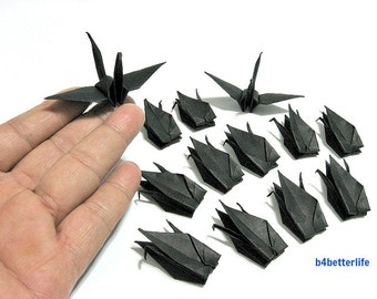 "80pcs 3-Inch Black Color Origami Cranes Hand-folded From 3"" x 3"" Square Paper. (KR paper series). #FCA-6."