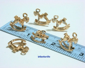 """Lot of 24pcs Double Sided """"Rocking Horse"""" Gold Color Plated Metal Charms. #XX201."""