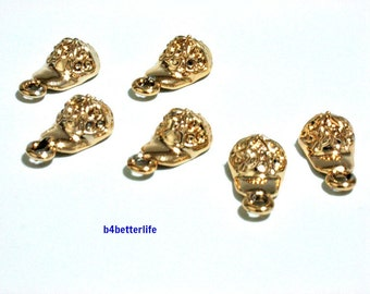 """Lot of 24pcs """"Baseball Cap"""" Gold Color Plated Metal Charms. #XX191."""