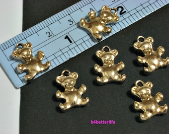 "Lot of 24pcs Double Sided ""Teddy Bear"" Gold Color Plated Metal Charms. #XX352."