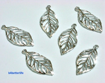 """Lot of 24pcs Double Sided """"Leaf"""" Silver Color Plated Metal Charms. #XX255s."""
