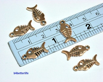 """Lot of 24pcs Double Sided """"Fish Bone"""" Gold Color Plated Metal Charms. #SW2180."""