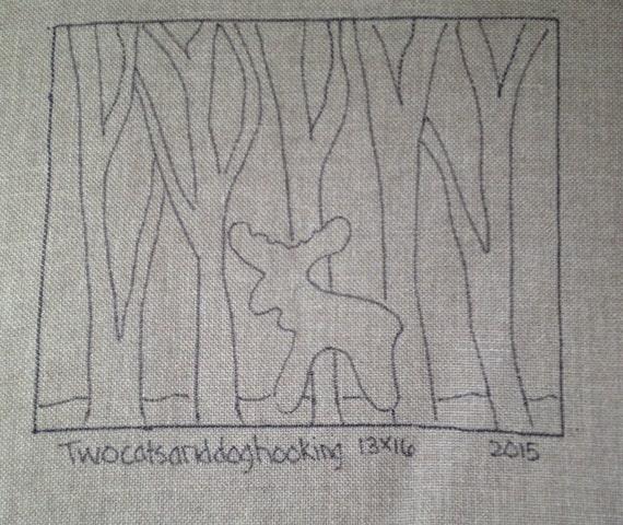 Moose Rug Hooking Kit: Hooked Rug Pillow Pattern Of Moose In By Twocatsanddoghooking