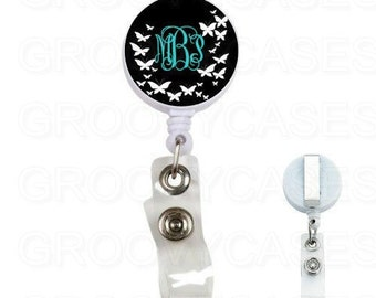 Monogrammed Badge Holder Retractable Butterflies Black