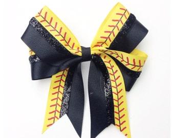 Yellow Stitch Softball Bow