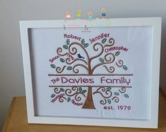 Personalized embroidered family tree