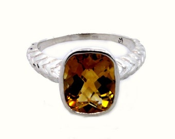 SALE! Sterling Silver Wheat Band Ring with Citrine Size 7