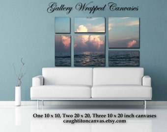 Panoramic large seascape sunset sunrise cloud photography canvas print 20x20 10x20 inch multiple panel wall living room multipanel mural art