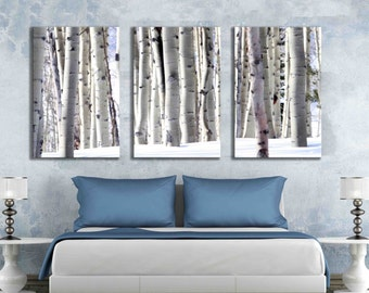 Three 3 panel canvas aspen tree forest wall print photograph large multiple decal art snow winter frost wall art nature home decor bright