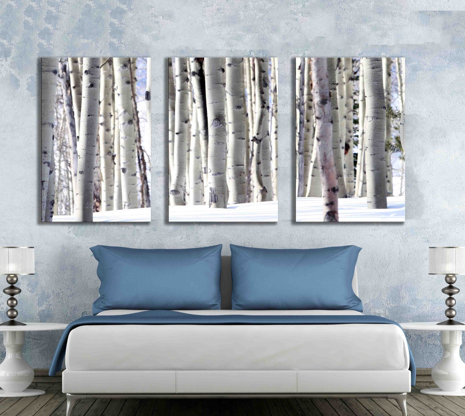 three 3 panel canvas aspen tree forest wall print photograph. Black Bedroom Furniture Sets. Home Design Ideas